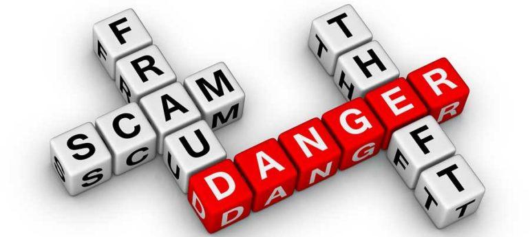 Blocks with scam phrases