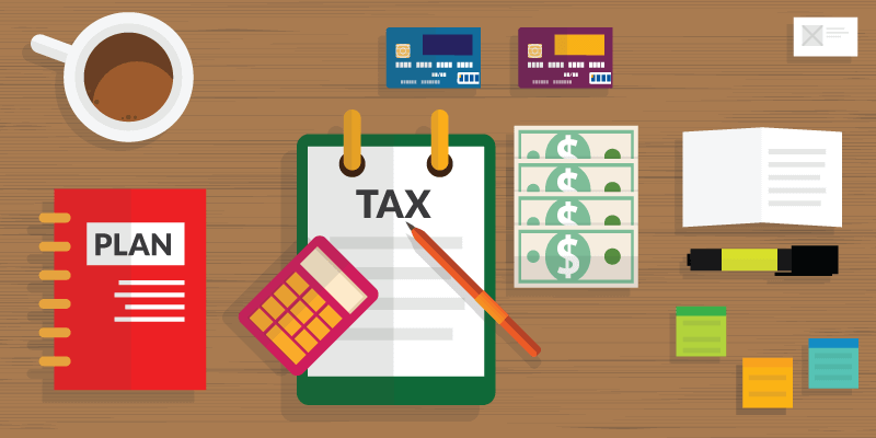 tax planning animation with calculator and credit cards